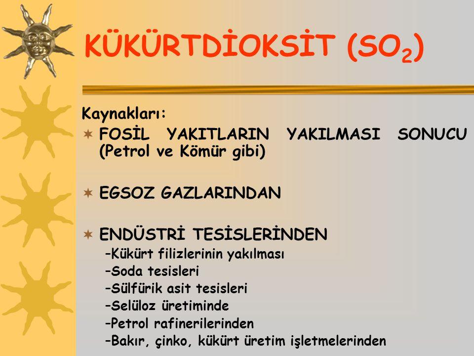 KÜKÜRTDİOKSİT (SO2) Kaynakları:
