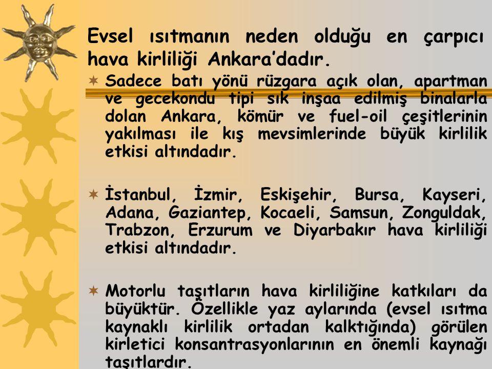 Evsel ısıtmanın neden olduğu en çarpıcı hava kirliliği Ankara'dadır.