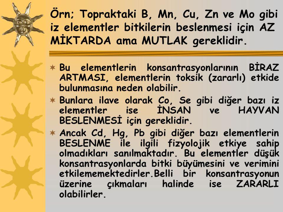 Örn; Topraktaki B, Mn, Cu, Zn ve Mo gibi iz elementler bitkilerin beslenmesi için AZ MİKTARDA ama MUTLAK gereklidir.