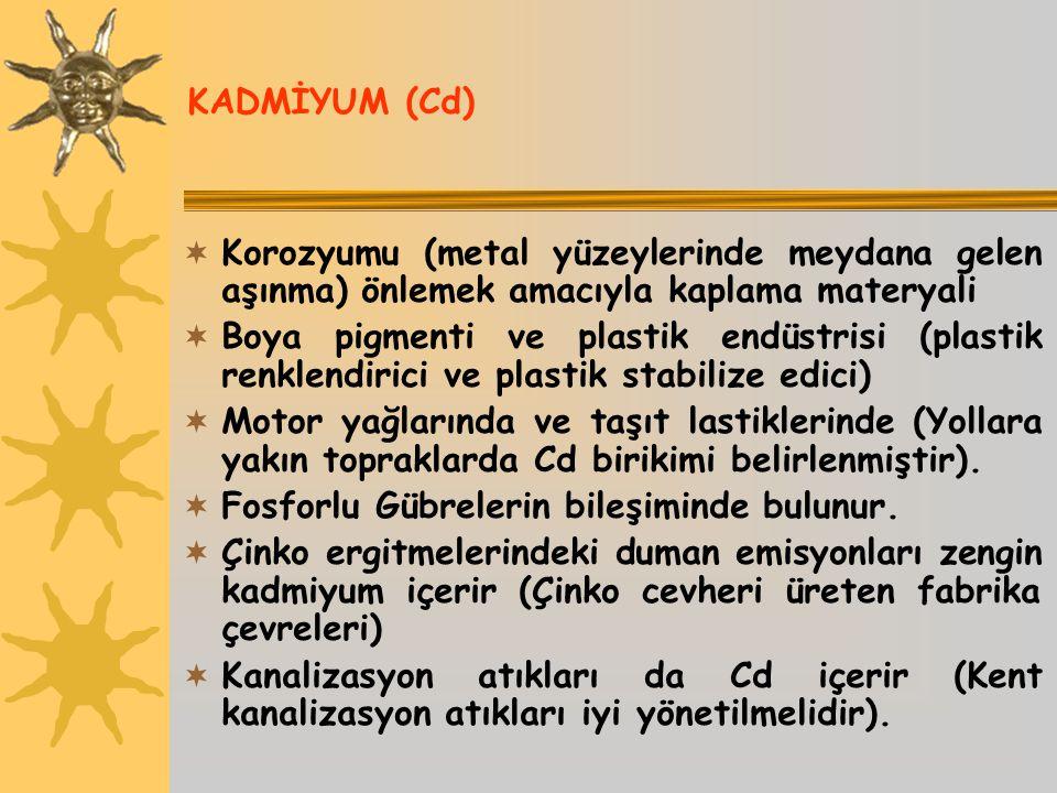 KADMİYUM (Cd) Korozyumu (metal yüzeylerinde meydana gelen aşınma) önlemek amacıyla kaplama materyali.