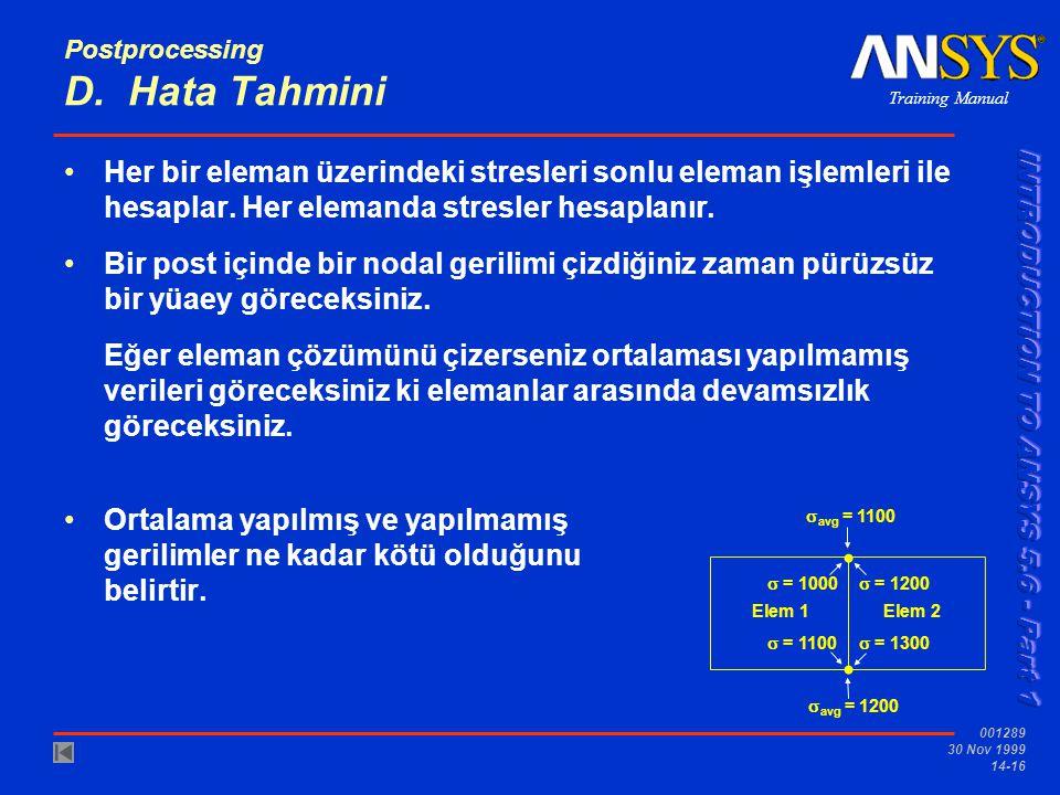 Postprocessing D. Hata Tahmini
