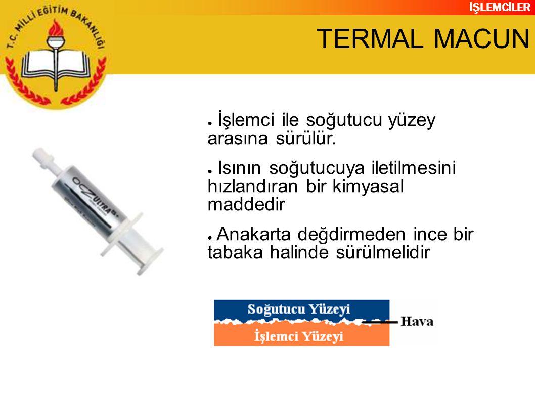 TERMAL MACUN İşlemci ile soğutucu yüzey arasına sürülür.