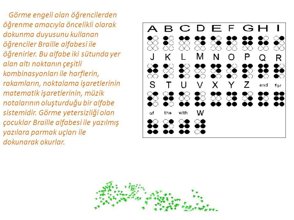 Görme engeli olan öğrencilerden öğrenme amacıyla öncelikli olarak dokunma duyusunu kullanan öğrenciler Braille alfabesi ile öğrenirler. Bu alfabe iki sütunda yer alan altı noktanın çeşitli kombinasyonları ile harflerin, rakamların, noktalama işaretlerinin matematik işaretlerinin, müzik notalarının oluşturduğu bir alfabe sistemidir. Görme yetersizliği olan çocuklar Braille alfabesi ile yazılmış yazılara parmak uçları ile