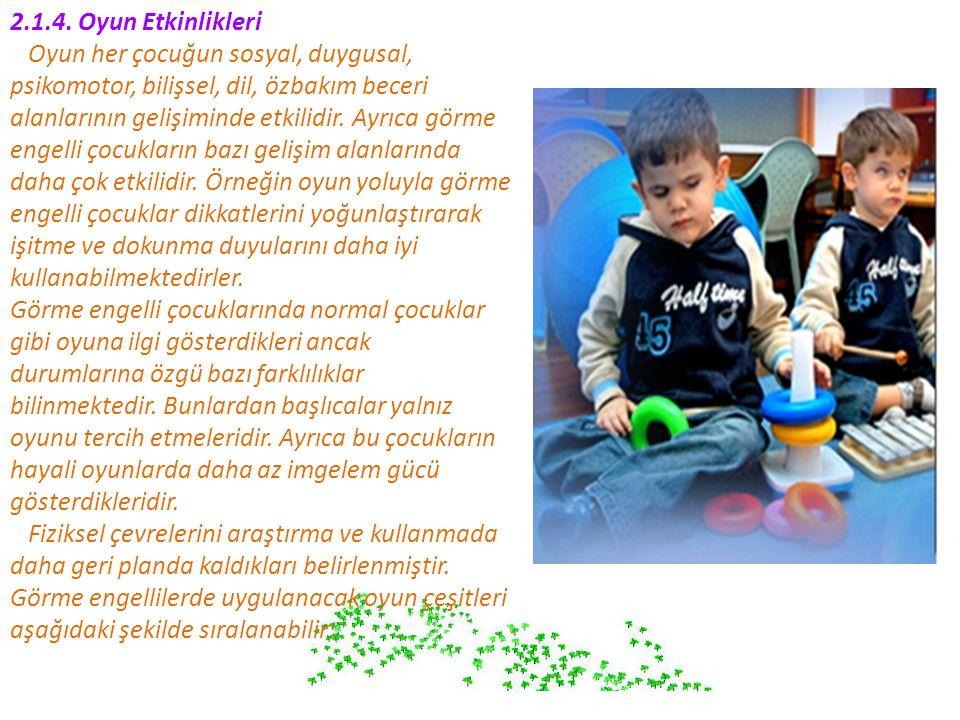 2.1.4. Oyun Etkinlikleri Oyun her çocuğun sosyal, duygusal, psikomotor, bilişsel, dil, özbakım beceri.