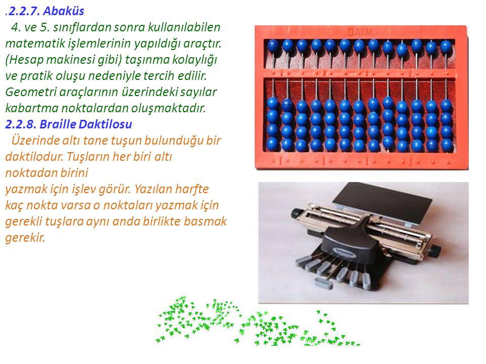 .2.2.7. Abaküs 4. ve 5. sınıflardan sonra kullanılabilen matematik işlemlerinin yapıldığı araçtır.