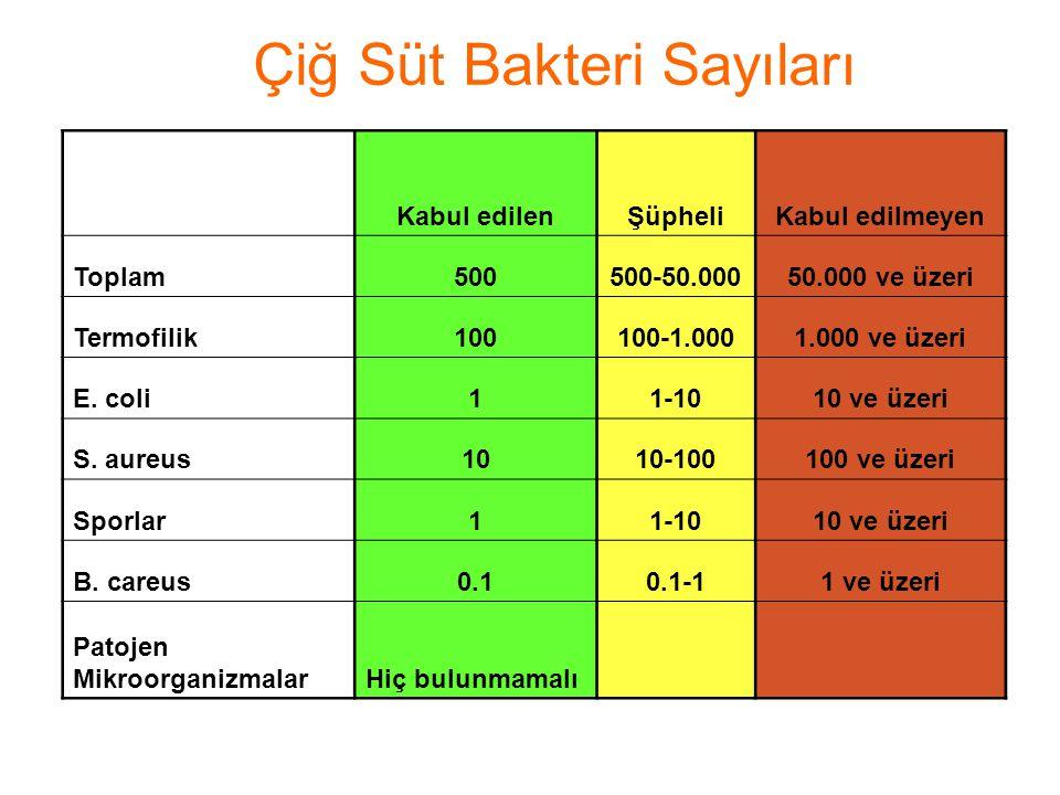 Çiğ Süt Bakteri Sayıları