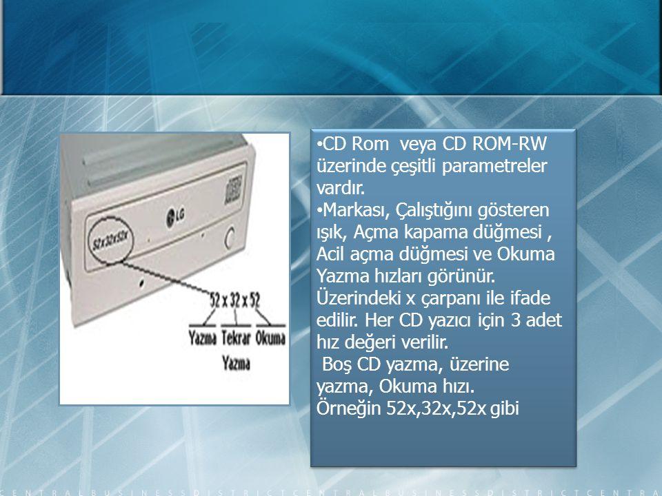 CD Rom veya CD ROM-RW üzerinde çeşitli parametreler vardır.