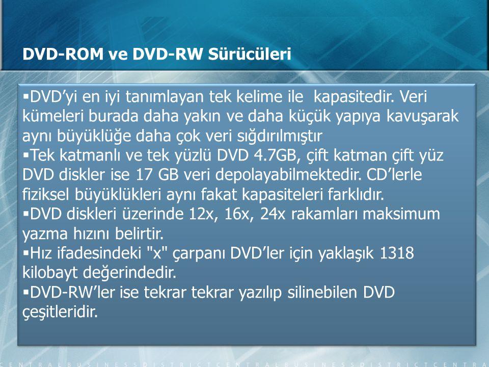 DVD-ROM ve DVD-RW Sürücüleri