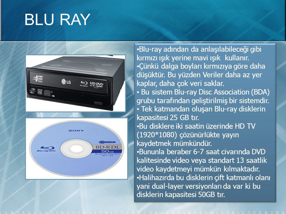 BLU RAY Blu-ray adından da anlaşılabileceği gibi kırmızı ışık yerine mavi ışık kullanır.