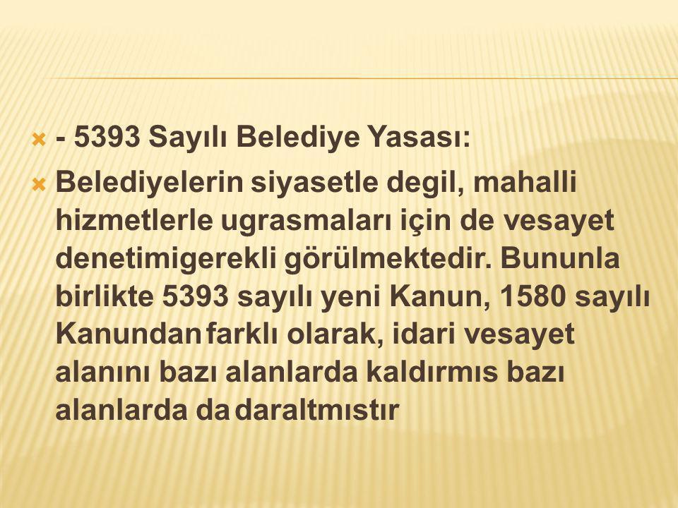 - 5393 Sayılı Belediye Yasası: