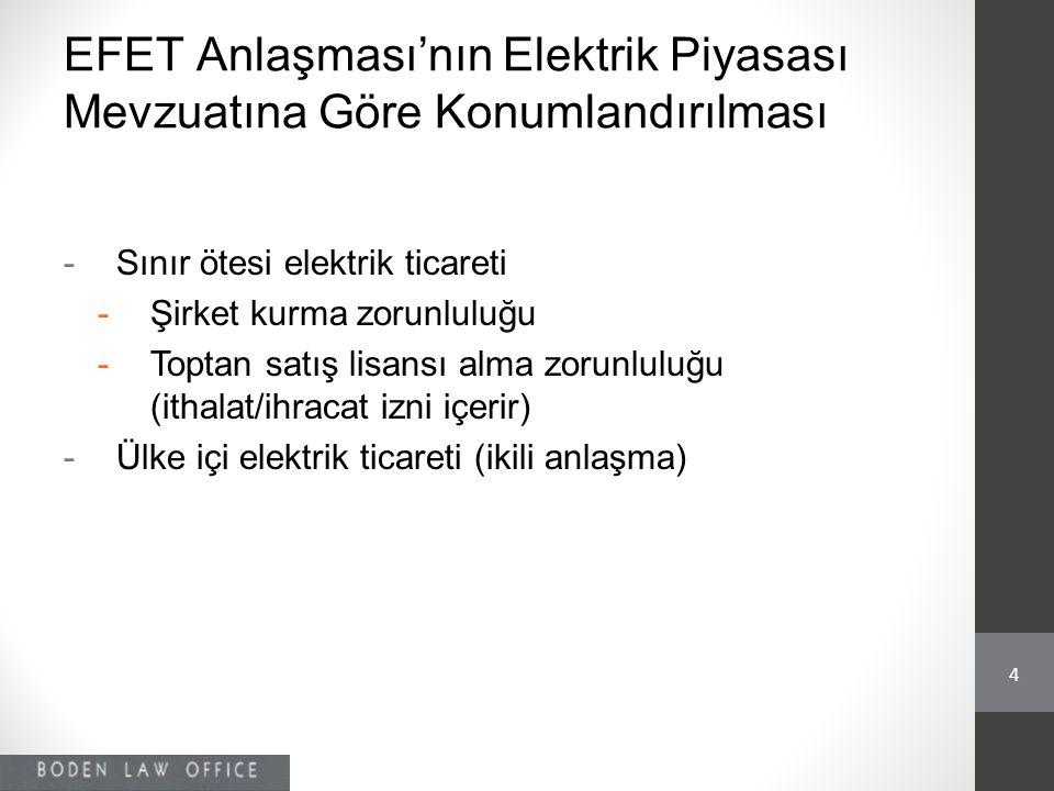 EFET Anlaşması'nın Elektrik Piyasası Mevzuatına Göre Konumlandırılması