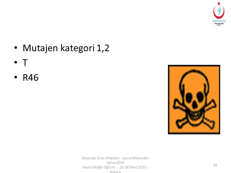 Mutajen kategori 1,2 T. R46.
