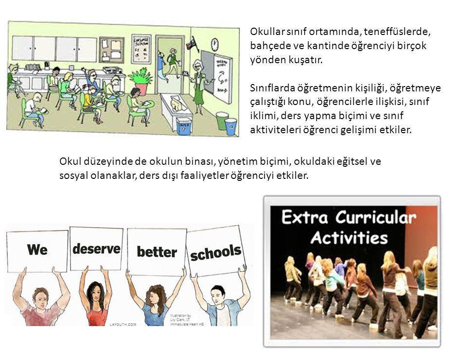Okullar sınıf ortamında, teneffüslerde, bahçede ve kantinde öğrenciyi birçok yönden kuşatır.