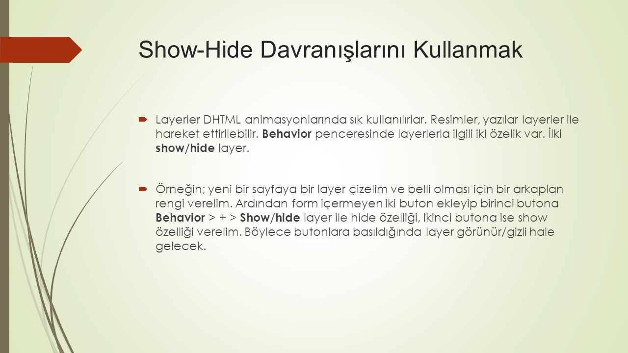 Show-Hide Davranışlarını Kullanmak
