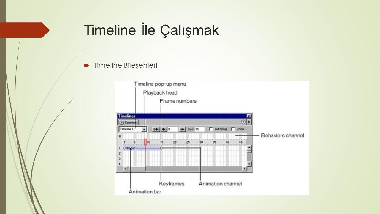 Timeline İle Çalışmak Timeline Bileşenleri