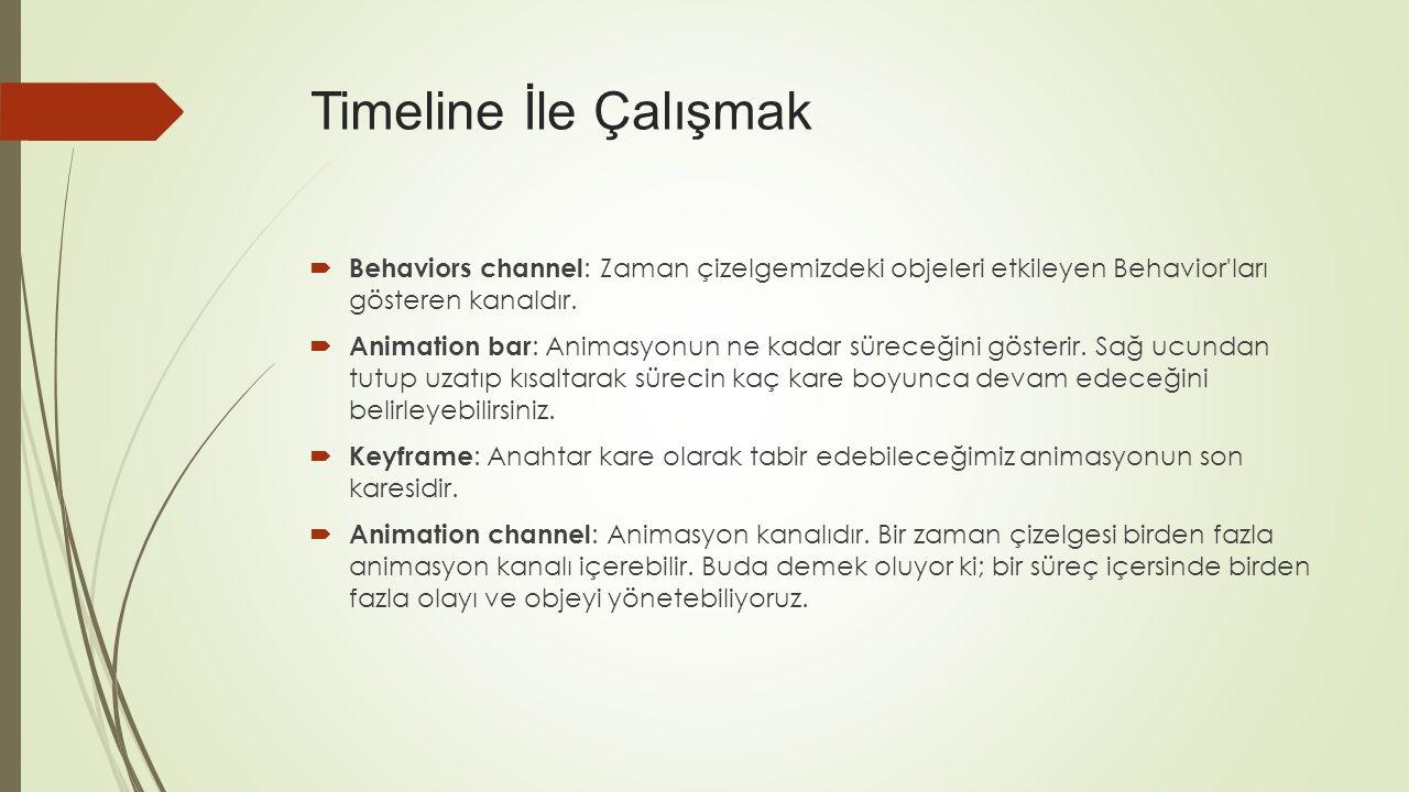 Timeline İle Çalışmak Behaviors channel: Zaman çizelgemizdeki objeleri etkileyen Behavior ları gösteren kanaldır.