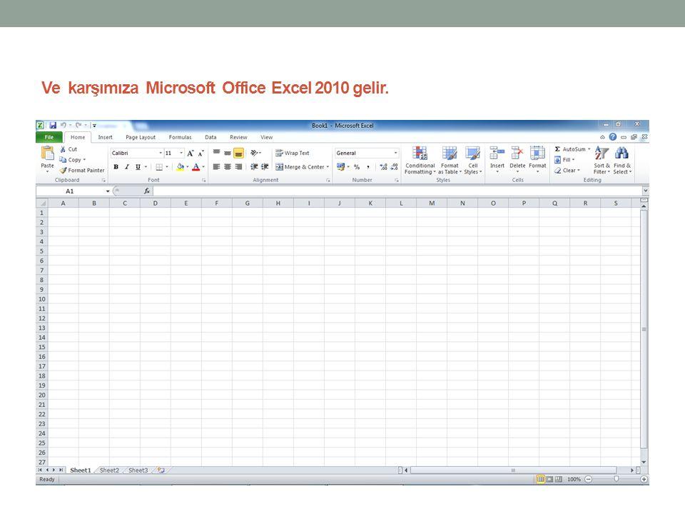 Ve karşımıza Microsoft Office Excel 2010 gelir.