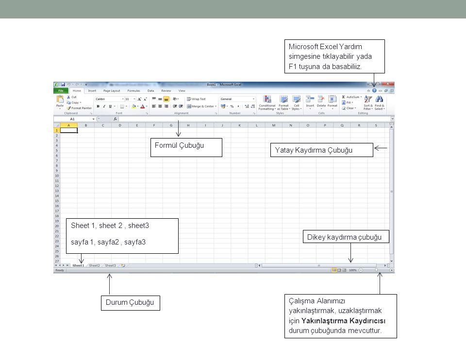 Microsoft Excel Yardım simgesine tıklayabilir yada F1 tuşuna da basabiliiz.