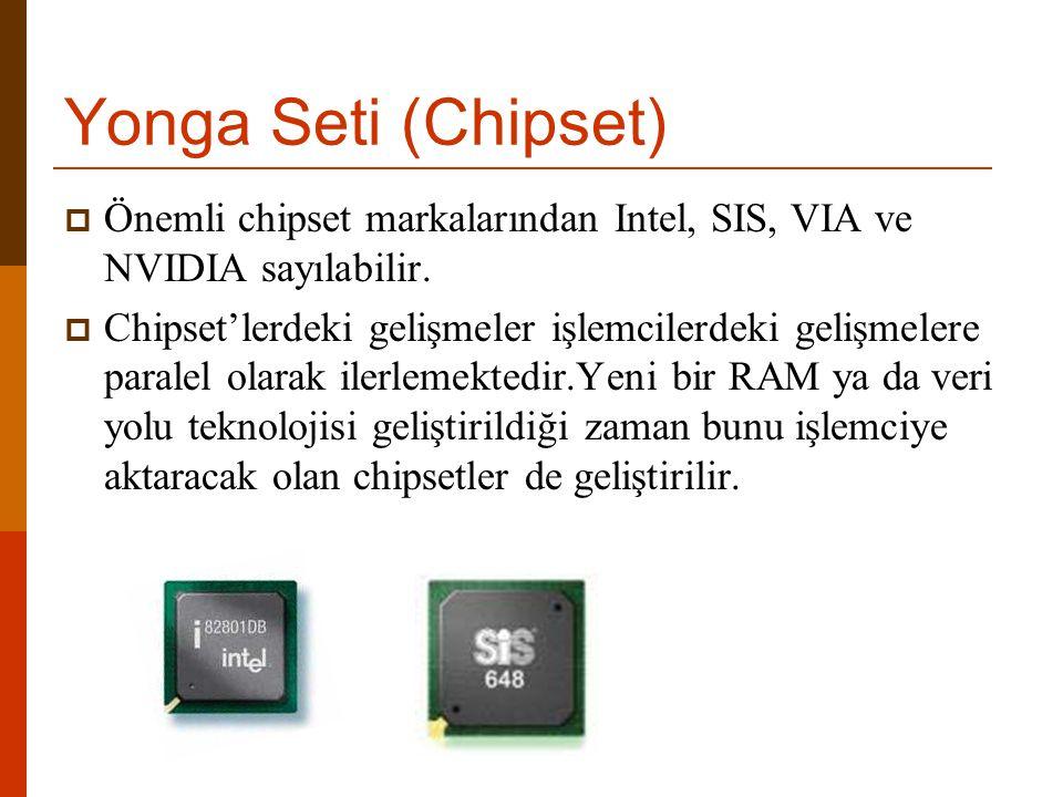 Yonga Seti (Chipset) Önemli chipset markalarından Intel, SIS, VIA ve NVIDIA sayılabilir.