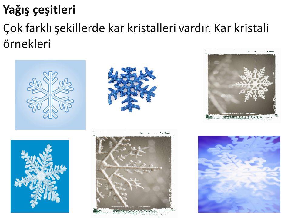 Yağış çeşitleri Çok farklı şekillerde kar kristalleri vardır. Kar kristali örnekleri