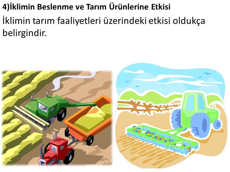 İklimin tarım faaliyetleri üzerindeki etkisi oldukça belirgindir.