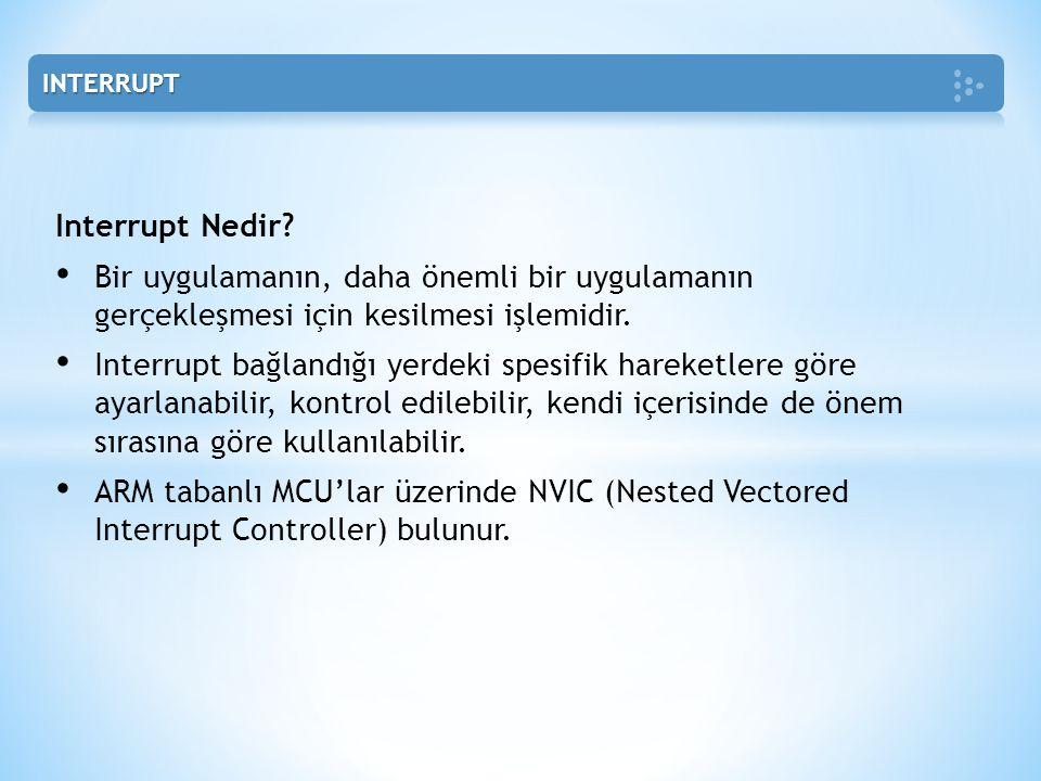 INTERRUPT Interrupt Nedir Bir uygulamanın, daha önemli bir uygulamanın gerçekleşmesi için kesilmesi işlemidir.