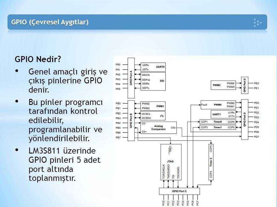 Genel amaçlı giriş ve çıkış pinlerine GPIO denir.