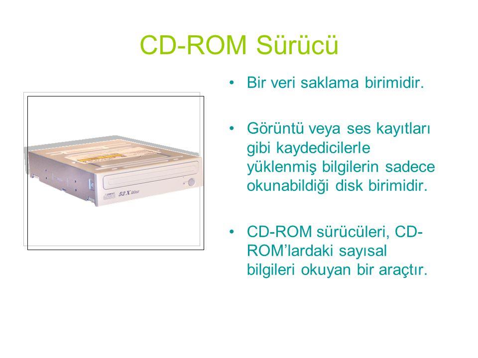 CD-ROM Sürücü Bir veri saklama birimidir.