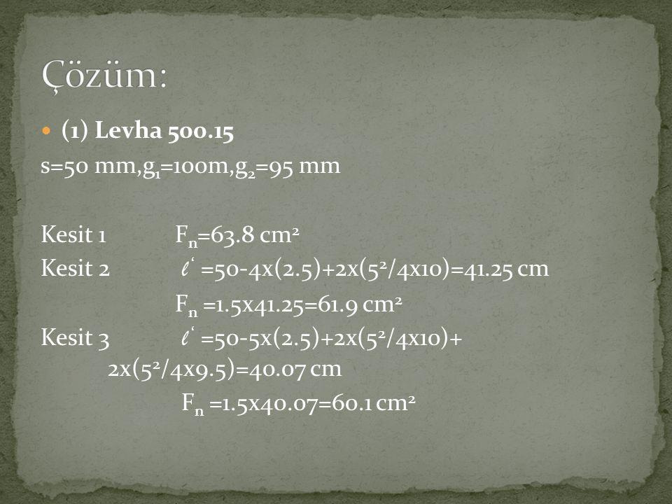 Çözüm: (1) Levha 500.15 s=50 mm,g1=100m,g2=95 mm Kesit 1 Fn=63.8 cm2
