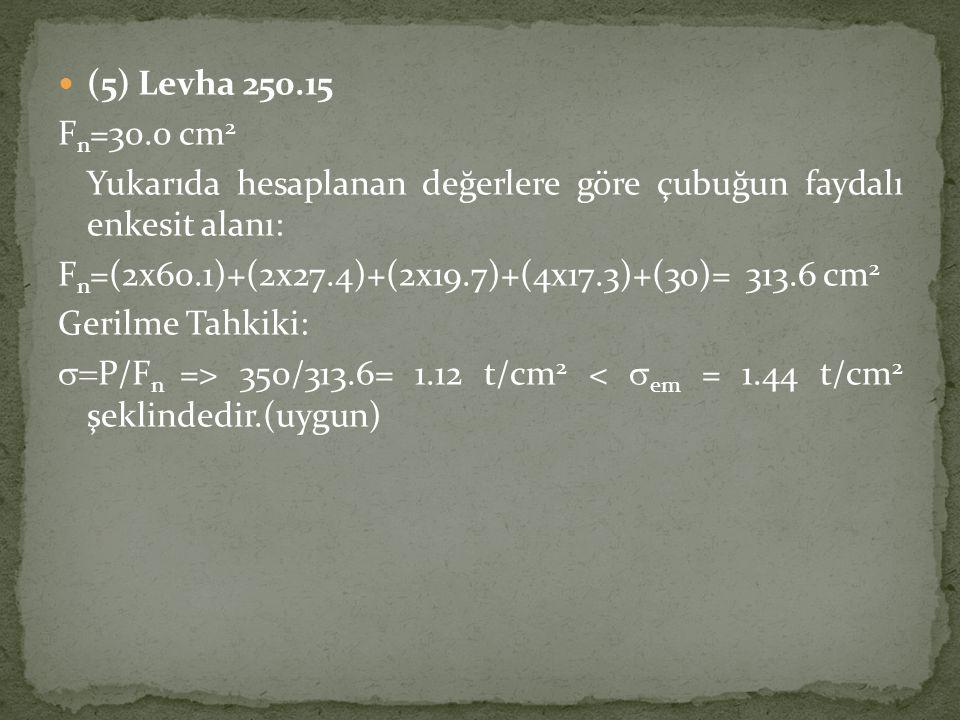 (5) Levha 250.15 Fn=30.0 cm2. Yukarıda hesaplanan değerlere göre çubuğun faydalı enkesit alanı: