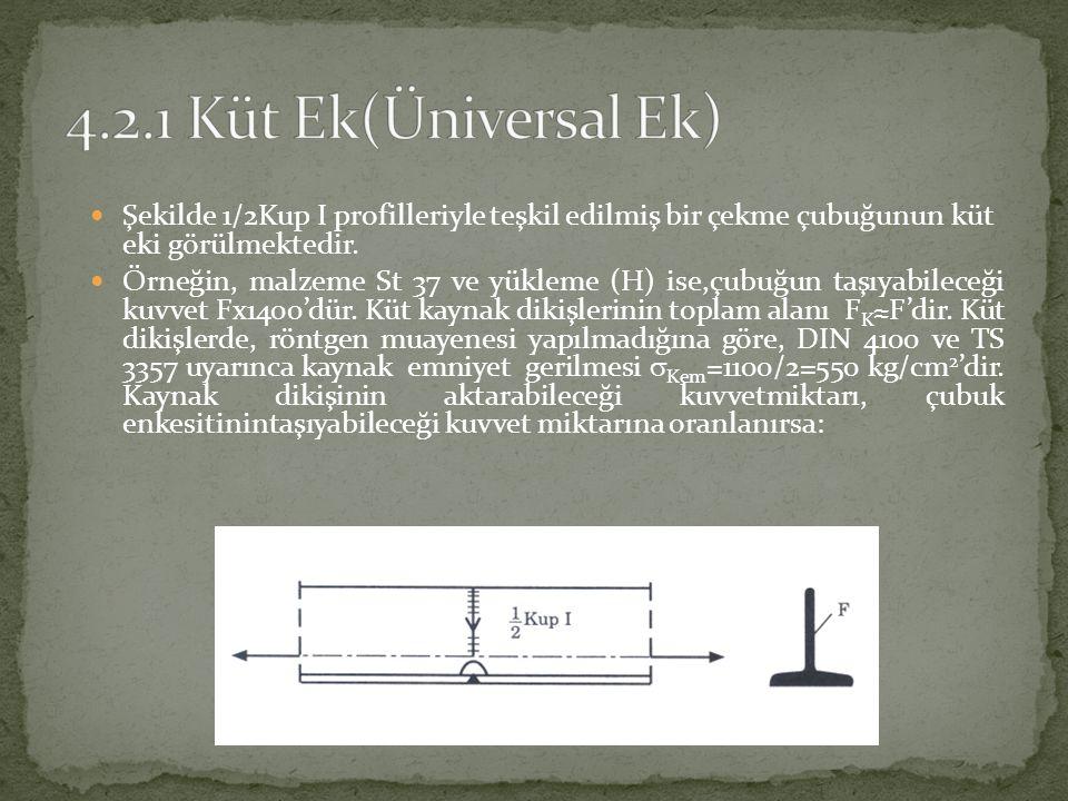 4.2.1 Küt Ek(Üniversal Ek) Şekilde 1/2Kup I profilleriyle teşkil edilmiş bir çekme çubuğunun küt eki görülmektedir.
