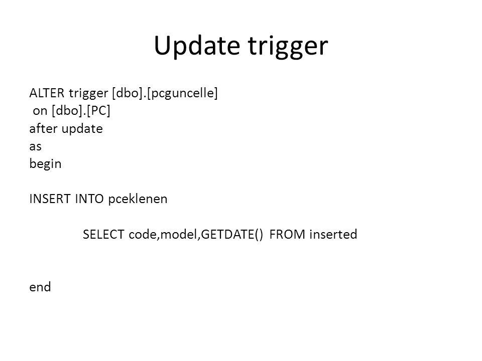 Update trigger