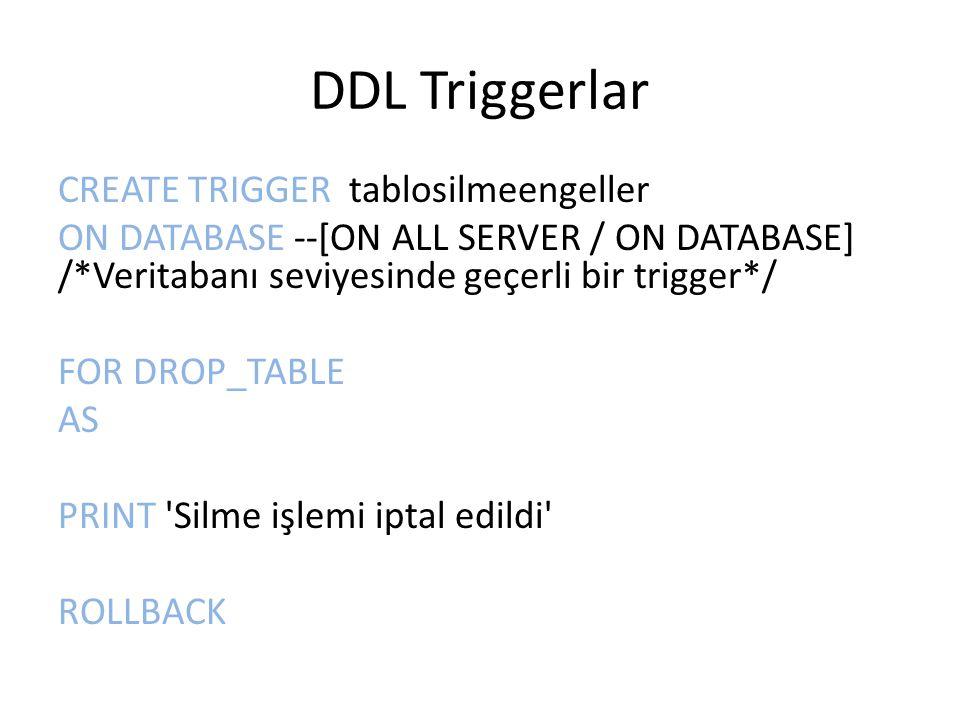 DDL Triggerlar