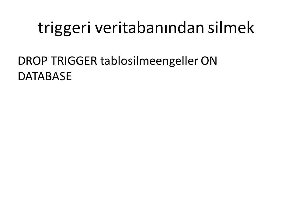 triggeri veritabanından silmek
