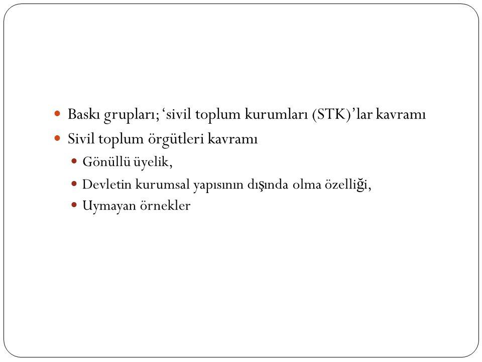 Baskı grupları; 'sivil toplum kurumları (STK)'lar kavramı
