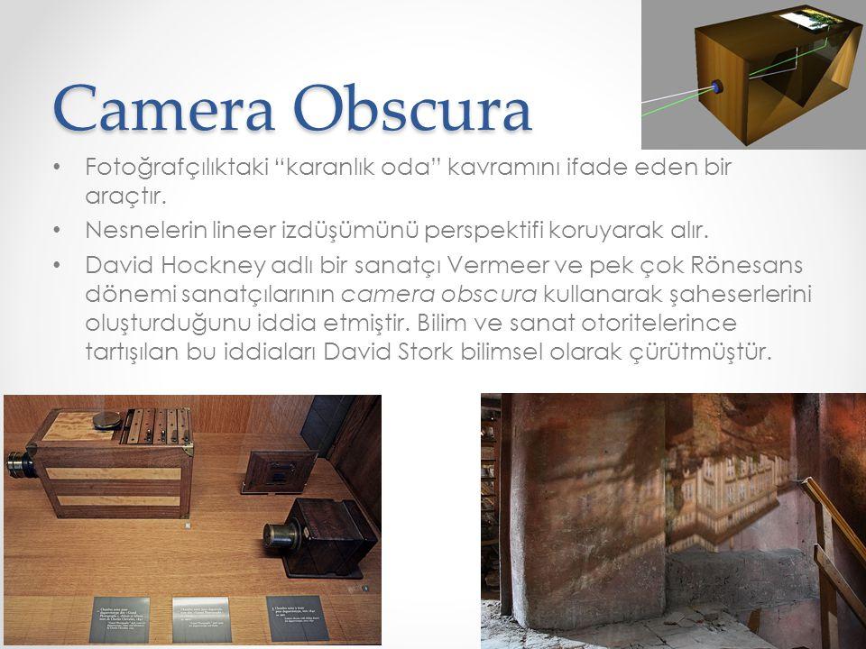 Camera Obscura Fotoğrafçılıktaki karanlık oda kavramını ifade eden bir araçtır. Nesnelerin lineer izdüşümünü perspektifi koruyarak alır.