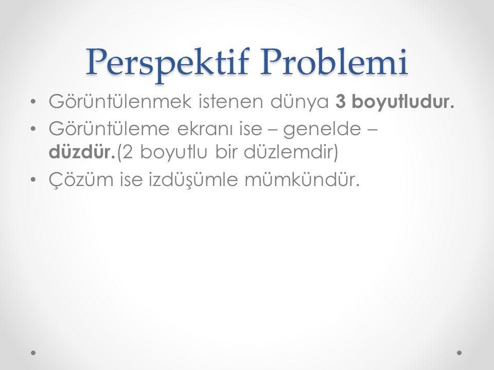 Perspektif Problemi Görüntülenmek istenen dünya 3 boyutludur.