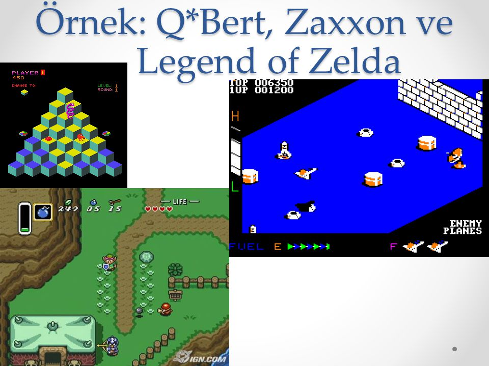 Örnek: Q*Bert, Zaxxon ve Legend of Zelda