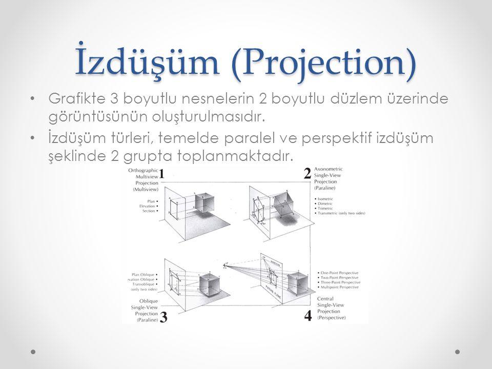 İzdüşüm (Projection) Grafikte 3 boyutlu nesnelerin 2 boyutlu düzlem üzerinde görüntüsünün oluşturulmasıdır.