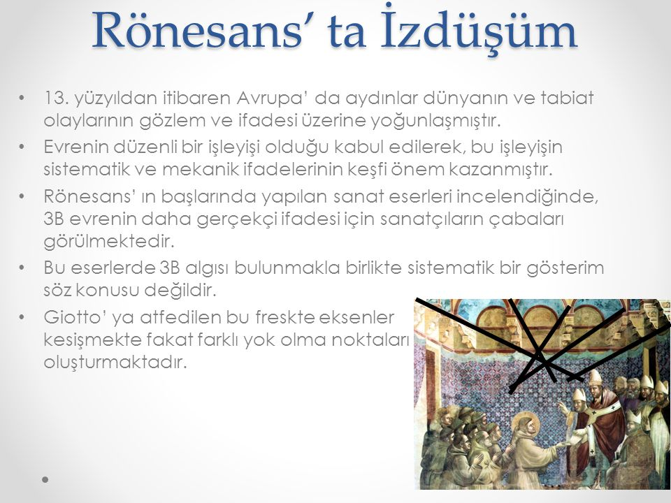 Rönesans' ta İzdüşüm 13. yüzyıldan itibaren Avrupa' da aydınlar dünyanın ve tabiat olaylarının gözlem ve ifadesi üzerine yoğunlaşmıştır.