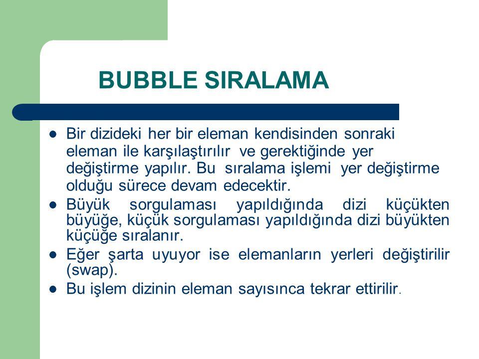BUBBLE SIRALAMA