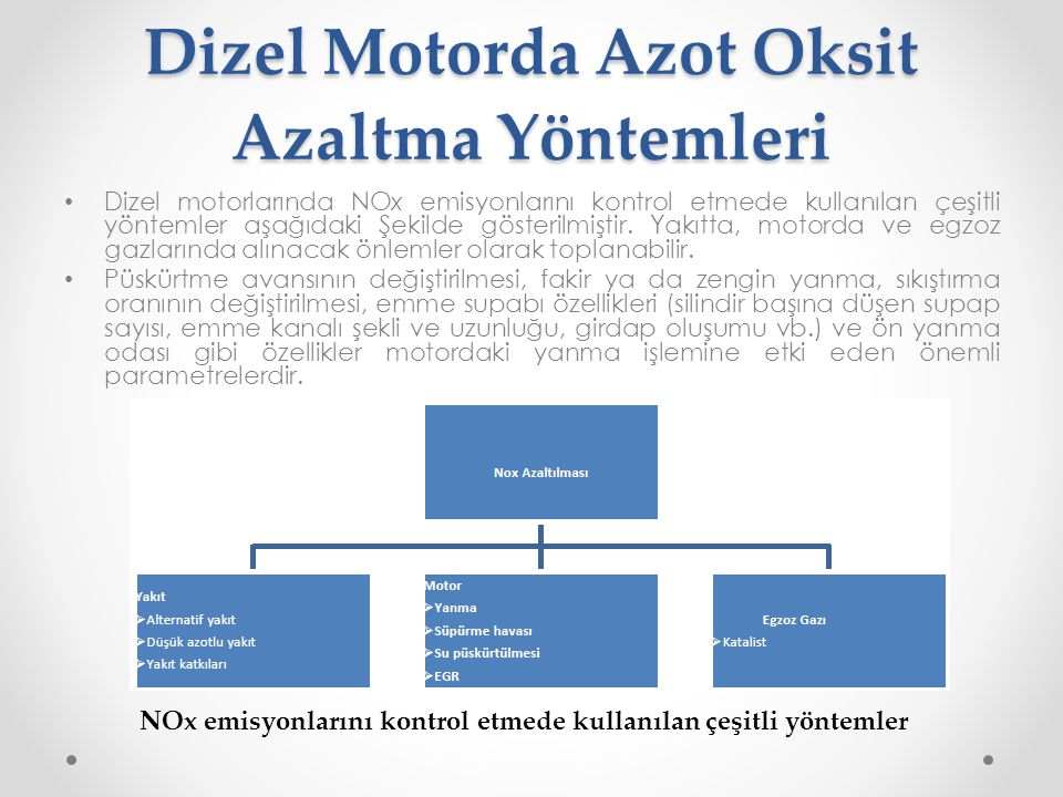 Dizel Motorda Azot Oksit Azaltma Yöntemleri