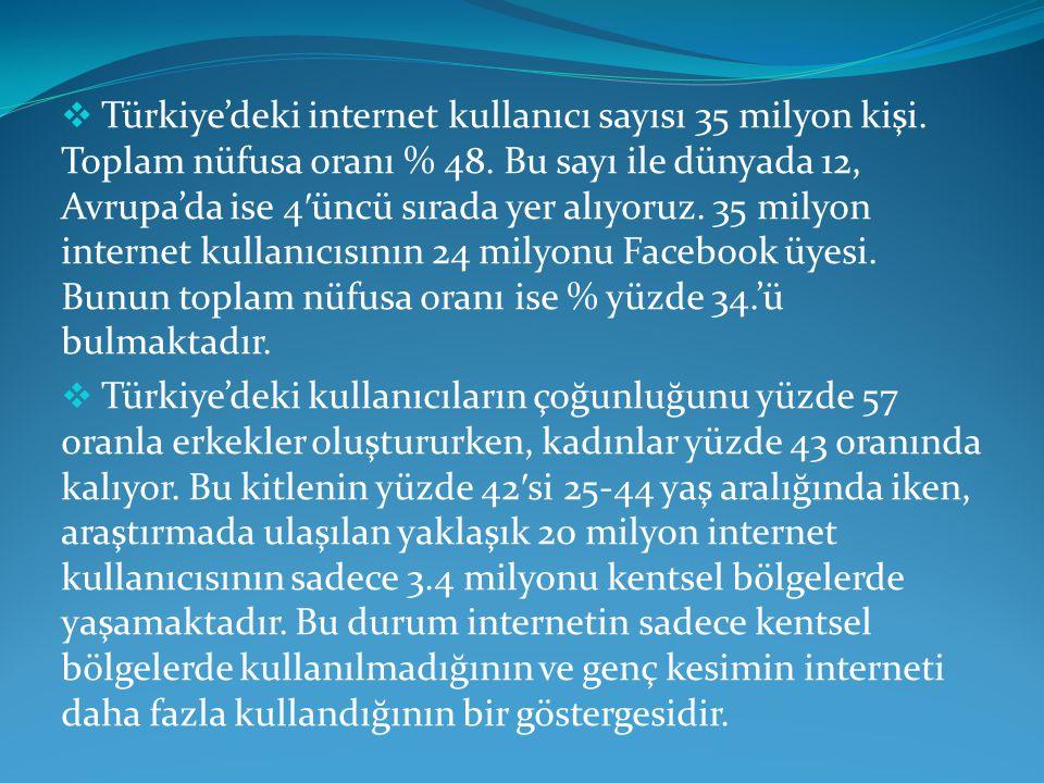 Türkiye'deki internet kullanıcı sayısı 35 milyon kişi