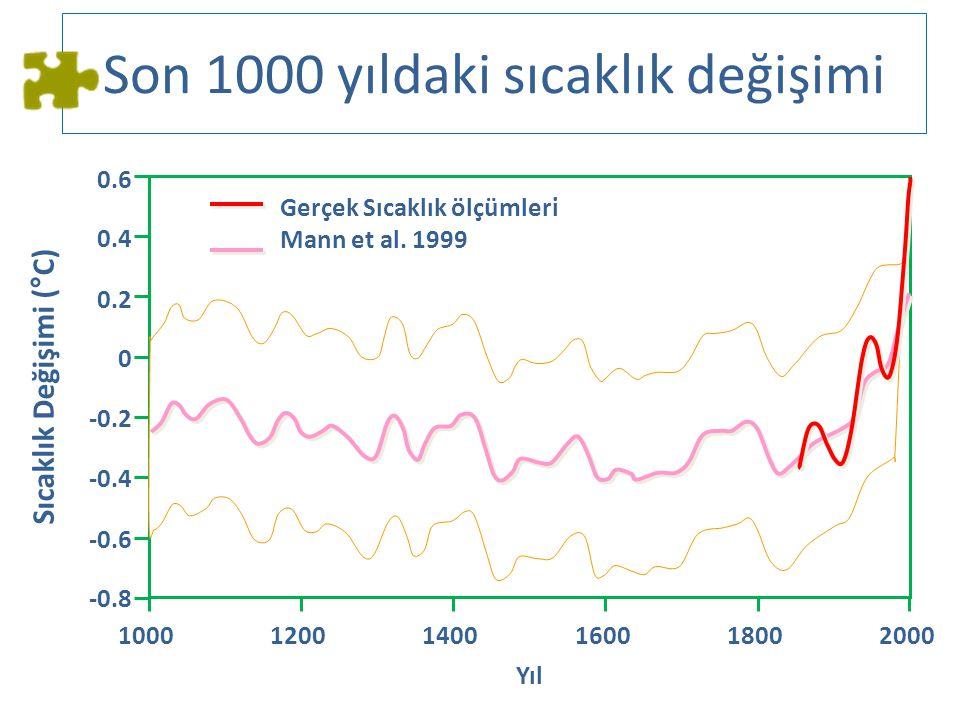 Son 1000 yıldaki sıcaklık değişimi