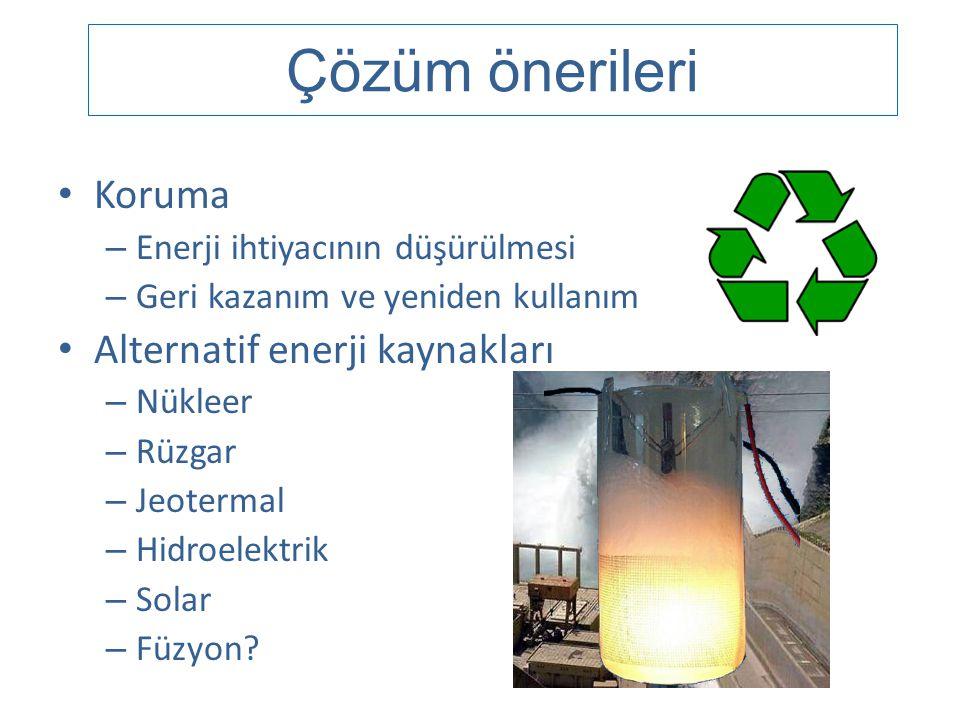 Çözüm önerileri Koruma Alternatif enerji kaynakları