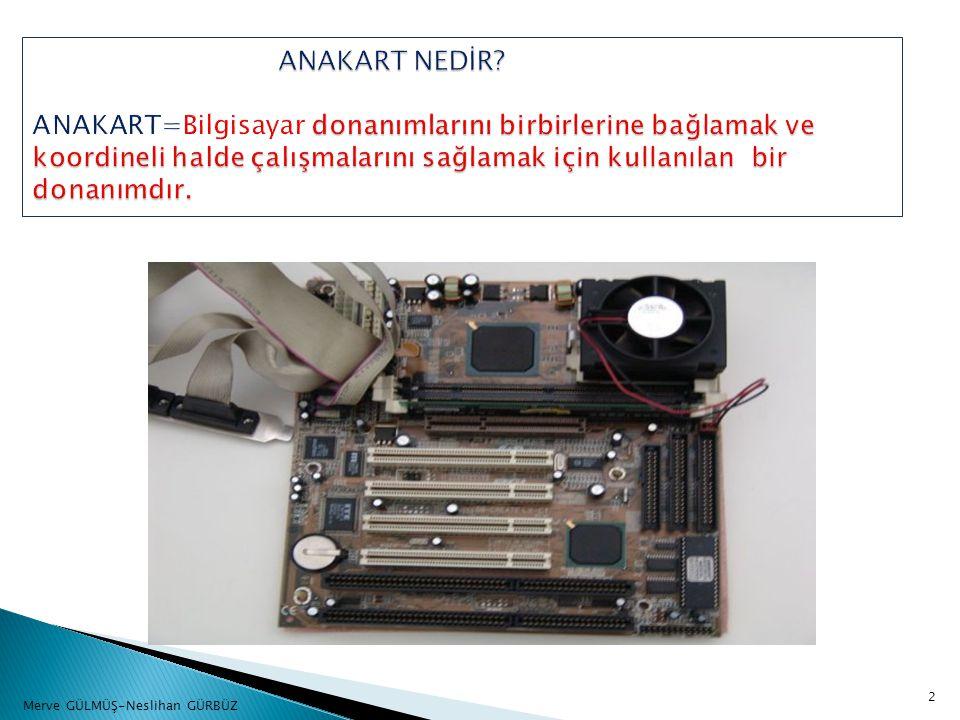ANAKART NEDİR ANAKART=Bilgisayar donanımlarını birbirlerine bağlamak ve koordineli halde çalışmalarını sağlamak için kullanılan bir donanımdır.