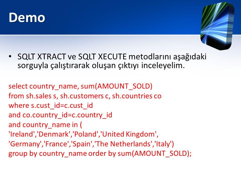 Demo SQLT XTRACT ve SQLT XECUTE metodlarını aşağıdaki sorguyla çalıştırarak oluşan çıktıyı inceleyelim.