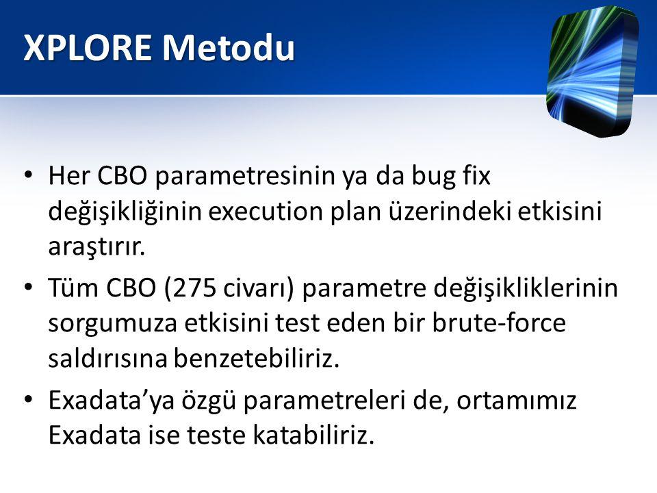 XPLORE Metodu Her CBO parametresinin ya da bug fix değişikliğinin execution plan üzerindeki etkisini araştırır.
