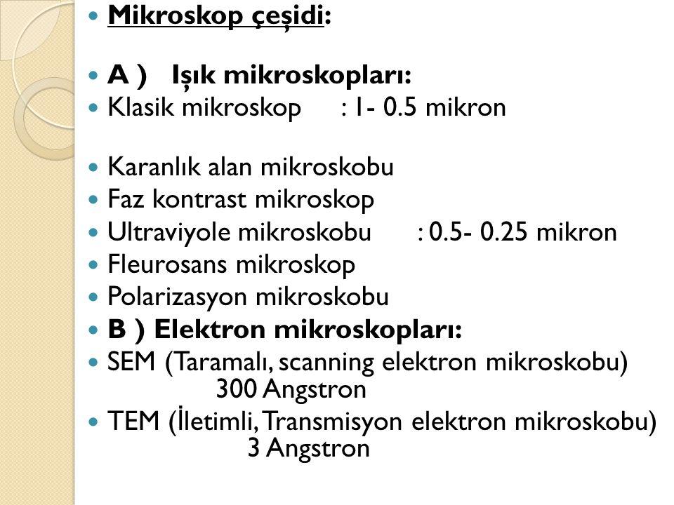 Mikroskop çeşidi: A ) Işık mikroskopları: Klasik mikroskop : 1- 0.5 mikron. Karanlık alan mikroskobu.