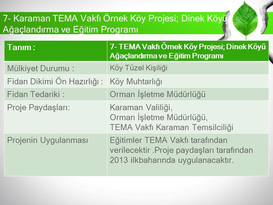 7- Karaman TEMA Vakfı Örnek Köy Projesi; Dinek Köyü Ağaçlandırma ve Eğitim Programı